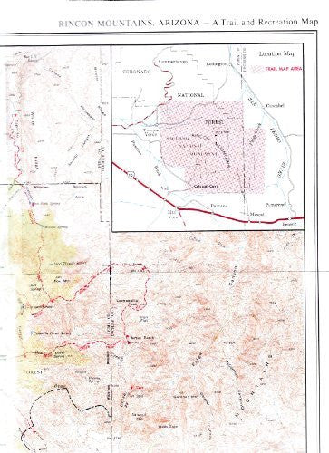 Rincon Mountains, Arizona Trail and Recreation Map