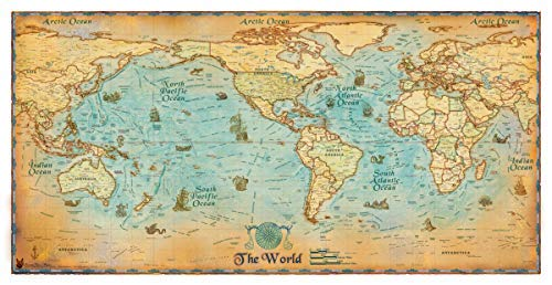 Antique Style World Usa Centered Small Gloss Laminated Wide World - Us-centered-world-map