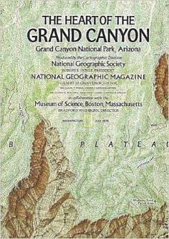 NATIONAL GEOGRAPHIC MAGAZINE MAP - The Heart of the Grand Canyon / The Grand Canyon of Colorado - July 1978 - MAP ONLY