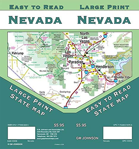 Nevada Large Print, Nevada State Map - Wide World Maps & MORE! - Book - Wide World Maps & MORE! - Wide World Maps & MORE!