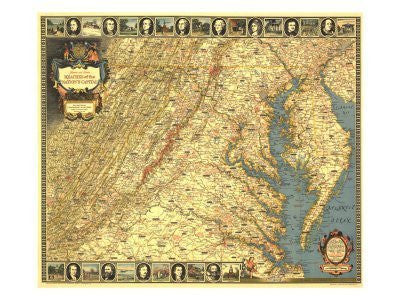 HISTORIC AND SCENIC REACHES OF THE NATION'S CAPITAL: full-color map with cartouche and pictorial borders.