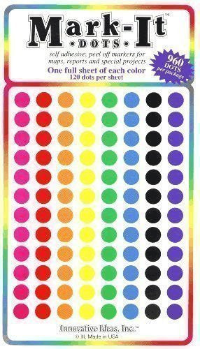 "Map Dot Stickers,  1/4"" Diameter,  Assorted Colors"