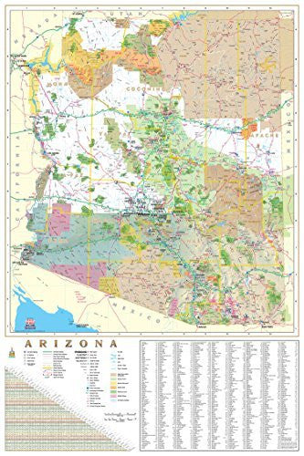 Arizona Wallmap with Index Ready-to-Hang