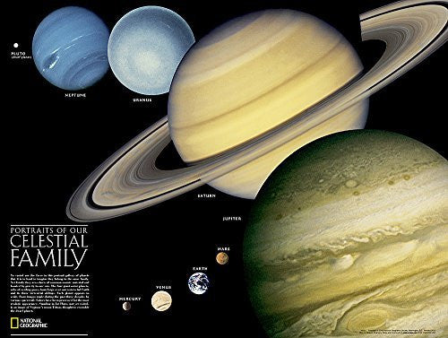 The Solar System: 2 sided [Tubed] (National Geographic Reference Map)