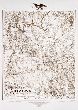 Official Map of the Territory of Arizona 1880 Paper, Non-Laminated