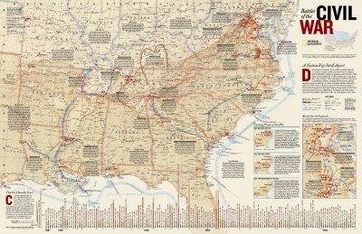 Battles of The Civil War Map Education Poster Print, 36x23