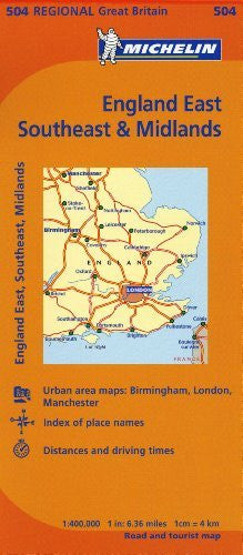 Michelin Map Great Britain: England, Southeast, Midlands & East Anglia Map 504 (Maps/Regional (Michelin))