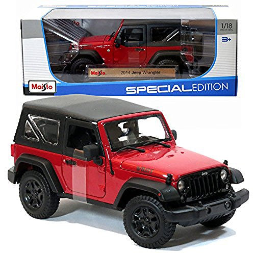 Maisto Year 2015 Special Edition Series 1:18 Scale Die Cast Car Set - Red Color Sports Utility Vehicle 2014 JEEP WRANGLER WILLYS (SUV Dimension: 8-1/2 x 4-1/2 x 4)