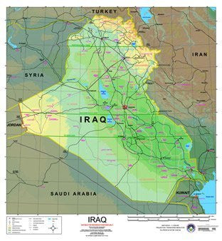 Iraq Wall Map Gloss Laminated Ready-to-Hang