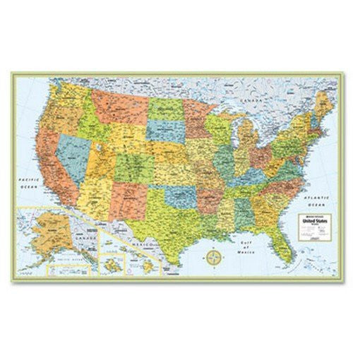 us topo - Advantus RM528959999 M-Series Full-Color Laminated United States Wall Map, 50 x 32 - Wide World Maps & MORE! - Office Product - Advantus - Wide World Maps & MORE!