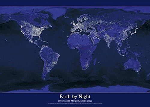 us topo - Earth By Night Poster 36x24 - Wide World Maps & MORE! - Home - Wide World Maps & MORE! - Wide World Maps & MORE!