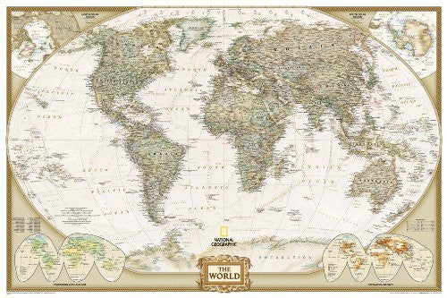 World Executive Poster Sized Wall Map (Tubed, World Map) by National Geographic Maps 2012 Edition (10/1/2012)