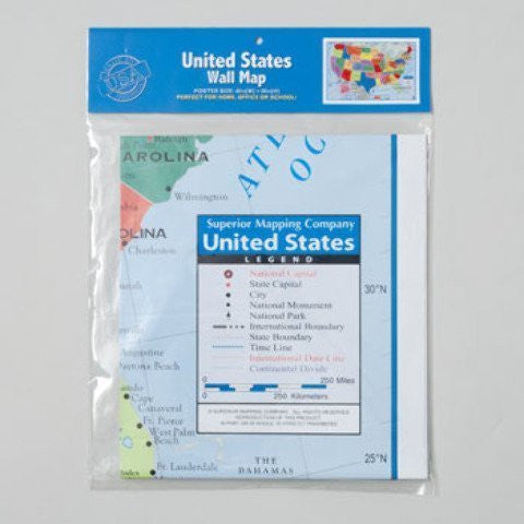 "United States Wall Map US USA Poster Size 40"" x 28"" Home School Office by Kappa"