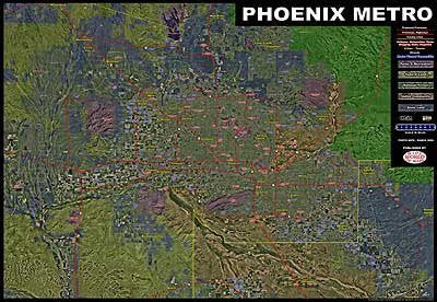 Phoenix Metro Aerial Photomosaic Wall Map Satin Laminated & Mounted