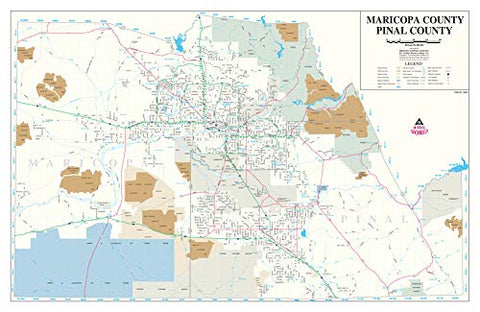 Maricopa | Pinal County Wall Map Dry Erase Laminated