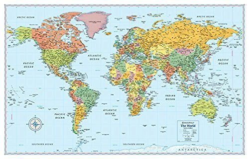 d New Rand McNally Signature World Wall Map - Dry Erase Laminated Rolled