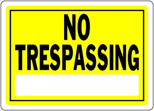 "us topo - The Hillman Group 840155 Aluminum Yellow 10"" x 14"" No Trespassing Sign - Wide World Maps & MORE! - Lawn & Patio - The Hillman Group - Wide World Maps & MORE!"