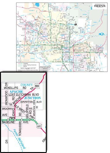 Metropolitan Phoenix Arterial Streets Notebook Map Gloss Laminated - 10 Count