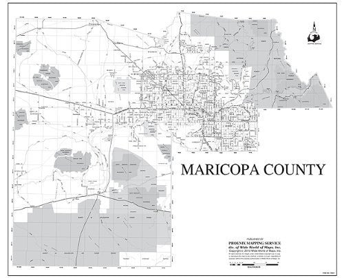 Maricopa County Wall Map Dry Erase Laminated