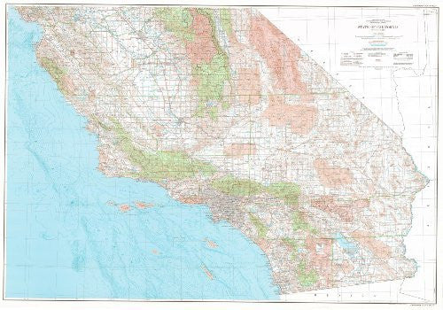 State of California Base Map with Highways and Contours (South Half) (TCA0335)