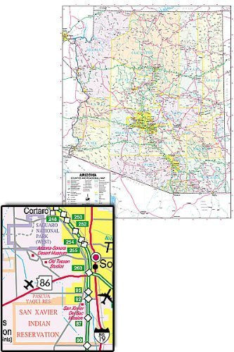 Arizona Counties and Roads Small Wall Map Gloss Laminated