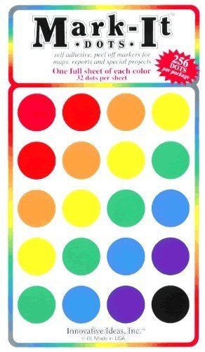"Large 3/4"" removable Mark-it brand dots for maps, reports or projects - eight color pack"