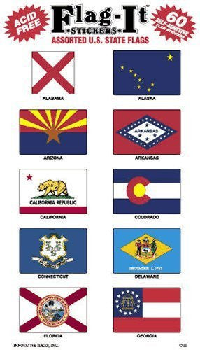 Assorted U.S. State Flags: 300 Self-Adhesive Flag Stickers