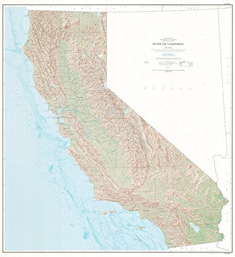 State of California Base Map Shaded Relief