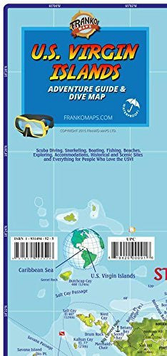 U.S. Virgin Islands Dive & Adventure Guide Franko Maps Waterproof Map