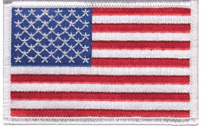 American Flag Embroidered Patch White Border United States Iron-On Military
