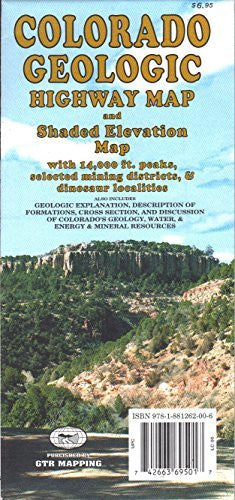 us topo - Colorado Geologic Highway Map and Shaded Elevation Map with 14,000 Foot Peaks, Selected Mining Districts, & Dinosaur Localities - Wide World Maps & MORE! - Book - Wide World Maps & MORE! - Wide World Maps & MORE!