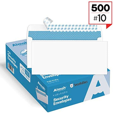 #10 Security Tinted Self-Seal Envelopes - No Window, Size 4-1/8 X 9-1/2 Inches - White - 24 LB