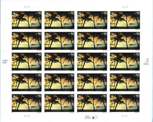 2007 HAGATNA BAY #C143 ~ AIRMAIL Pane of 20 x 90 cents US Postage Stamps