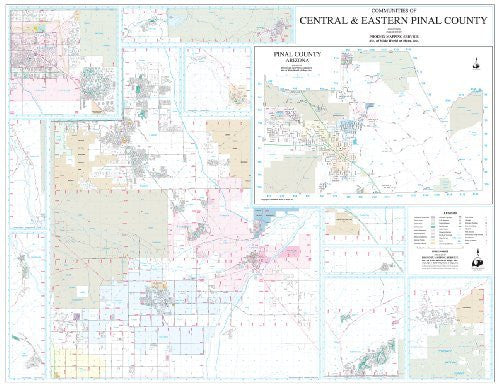 Communities of Central and Eastern Pinal County Wall Map Dry Erase Laminated