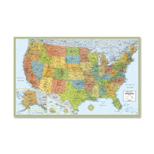 "Rand McNally United States Laminated Wall Map, 50""x32"""