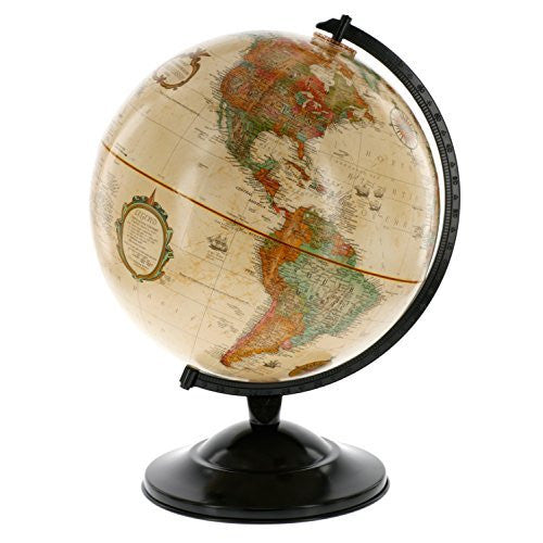"Globe With Antique Shading - Raised Relief Topographical Political Globe - 2016 Country Lines (12"" Diameter)"