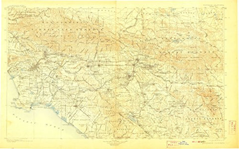 YellowMaps Southern California Sheet No 1 CA topo map, 1:250000 Scale, 1 X 2 Degree, Historical, 1904, Updated 1907, 20 x 32.1 in