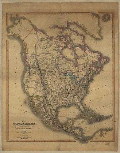 Map of North America Including Part of the West India Islands Gloss Laminated