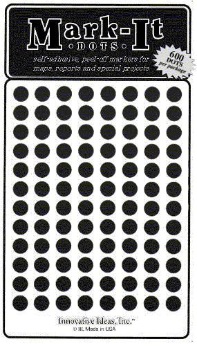 "Medium 1/4"" Black Dots 2 pack (1200)"