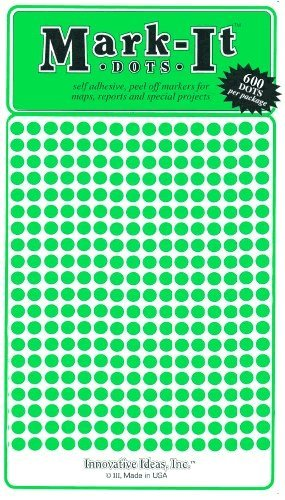 "Small 1/8"" Removable Mark-It Brand Dots for Maps, Reports, or Projects - Green"