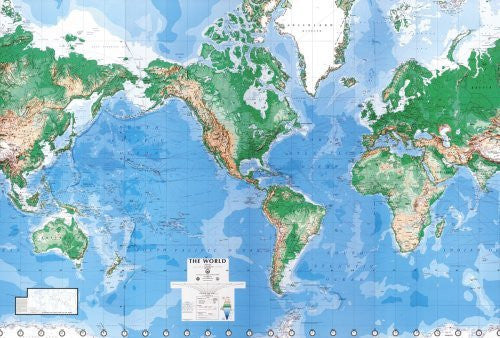 us topo - World Map Wall Mural Laminated - Wide World Maps & MORE! - Home - Environmental Graphics - Wide World Maps & MORE!