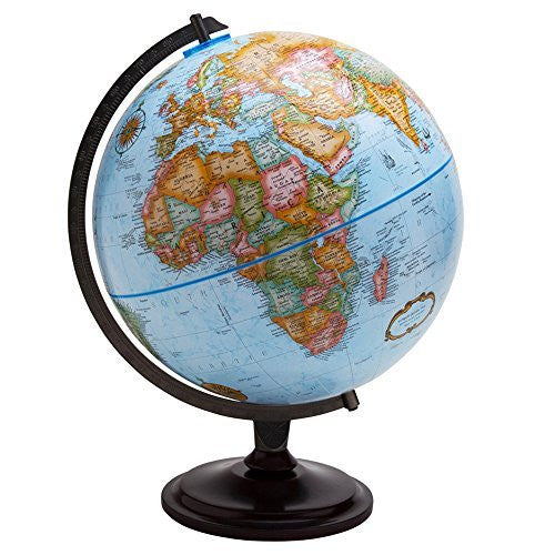 Replogle Globes Pasco Desktop Globe with Blue Oceans and Wood Stand, 12""