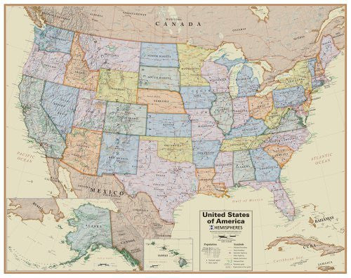 us topo - Round World Products Boardroom USA Wall Map - Wide World Maps & MORE! - Map - Round World Products - Wide World Maps & MORE!