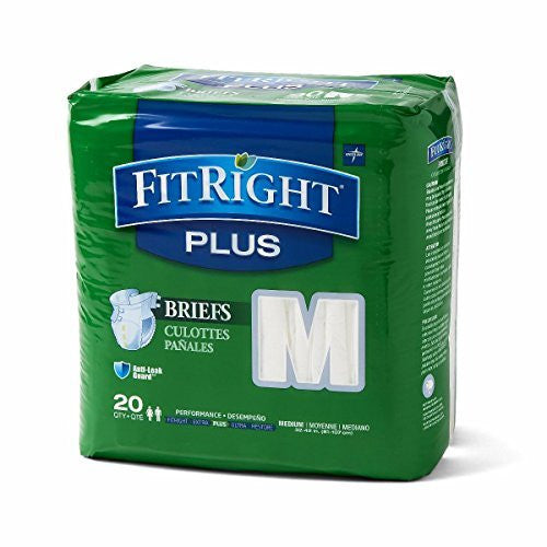 "Medline FITPLUSMD FitRight Plus Briefs, Heavy Absorbency, 32""-42"", Medium (Pack of 80)"