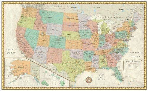 Large Laminated Us Map.U S A Wall Map Classic Edition Large Dry Erase Laminated Wide