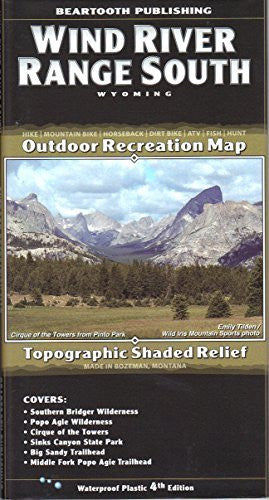 Wind River Range South, Wyoming Topographic Shaded Relief Outdoor Recreation Map