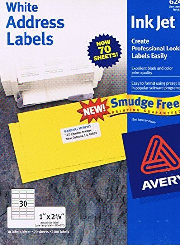 "Avery: White Address Labels Ink Jet - 1"" X 2 5/8"" (Smudge Free, Black and Color Print Quality, 30 Labels/Sheet, 70 Sheets, 2100 Labels) (6245 TM Use Template for 8160 TM)"
