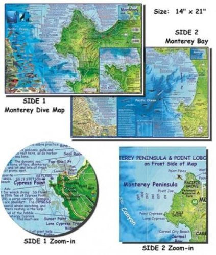 us topo - Franko Maps Monetrey Bay Map for Scuba Divers and Snorkelers - Wide World Maps & MORE! - Sports - 699 - Wide World Maps & MORE!