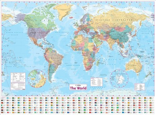 us topo - Collins The World: Paper Wall Map - Wide World Maps & MORE! - Book - Brand: HarperCollins UK - Wide World Maps & MORE!