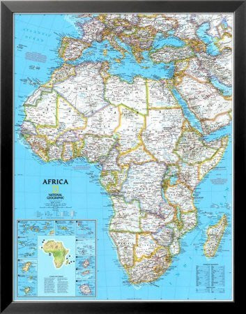Africa Political Map Framed Art Poster Print, 25x32